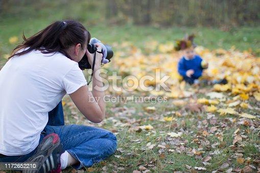 Woman photographs a child. Children's photography