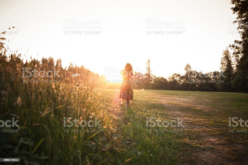 Woman picking wildflowers in meadow at sunset stock photo