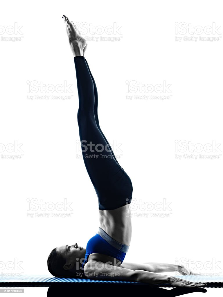woman pilates exercises fitness isolated stock photo