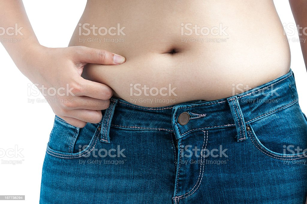 Woman Pinching Her Belly Fat stock photo