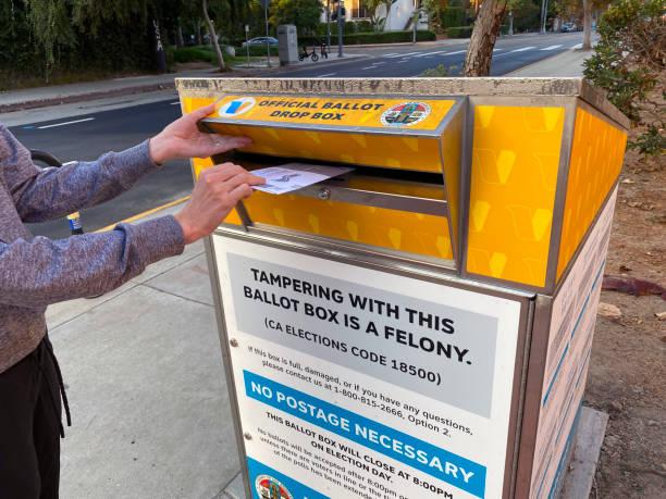 woman placing vote ballot in official drop box - biden стоковые фото и изображения