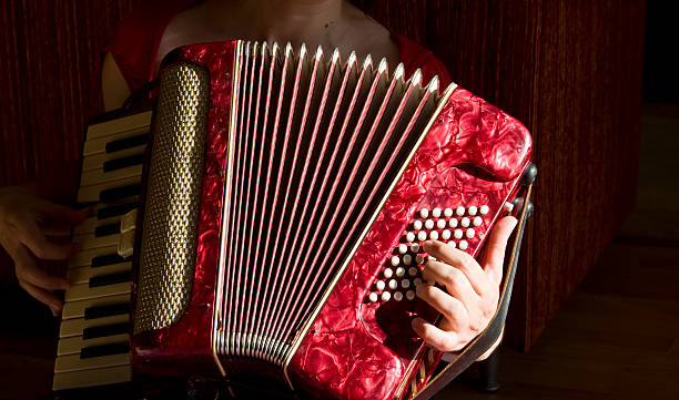 woman playing accordion - accordion stock photos and pictures