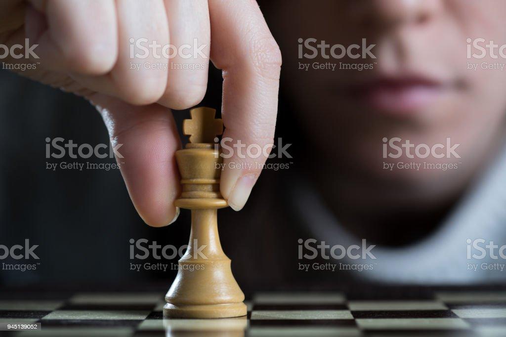 Woman Playing Chess stock photo