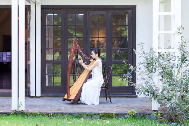 woman playing harp outdoors - harpist stock photos and pictures