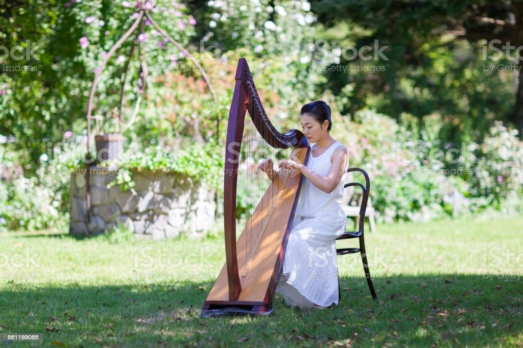 Woman Playing Harp Outdoors - foto stock