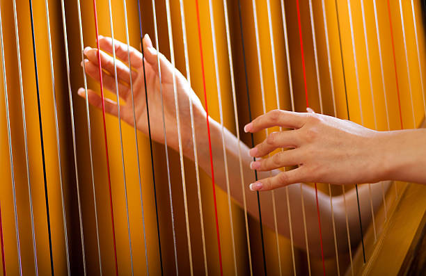 woman playing harp - harpist stock photos and pictures