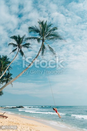 istock Woman playing on rope swing 641113520