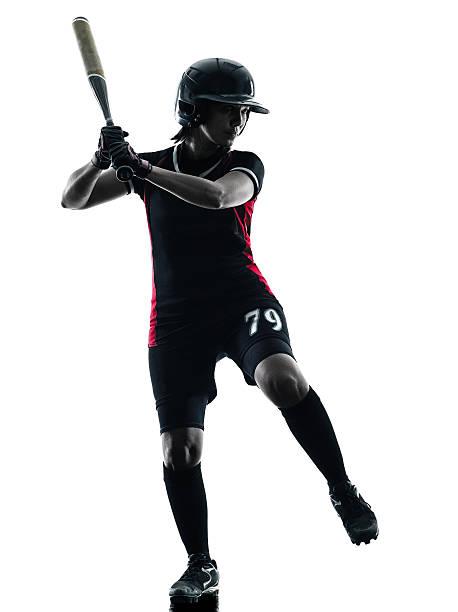 mulher tocando softball jogadores silhueta isolado - softbol esporte - fotografias e filmes do acervo