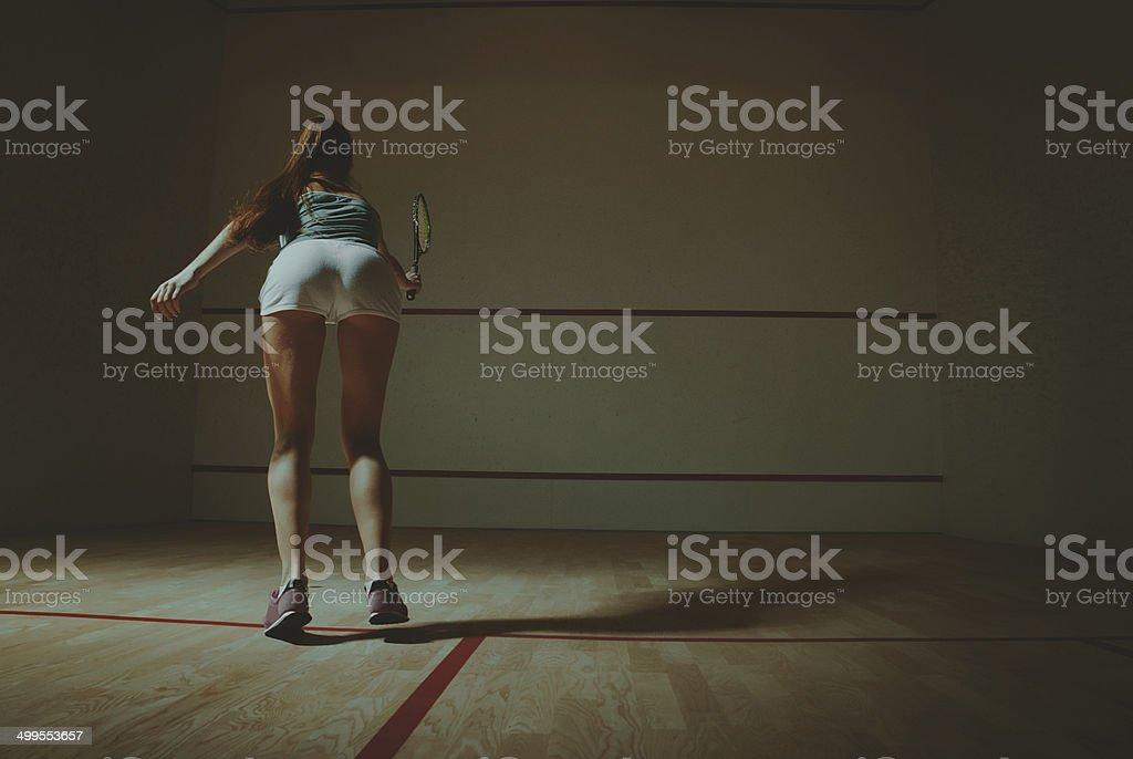 woman playing squash stock photo