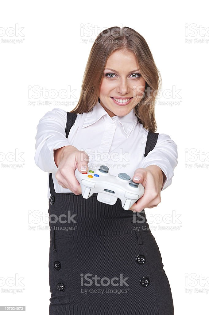 woman playing video game with joystick royalty-free stock photo