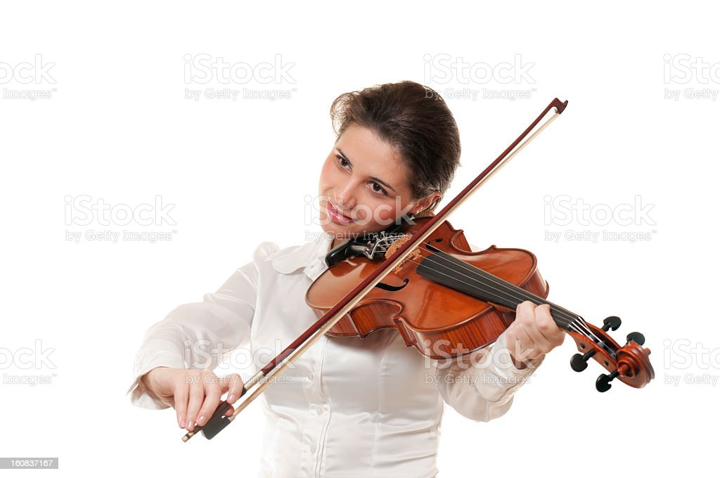 Woman playing violin, isolated on white royalty-free stock photo
