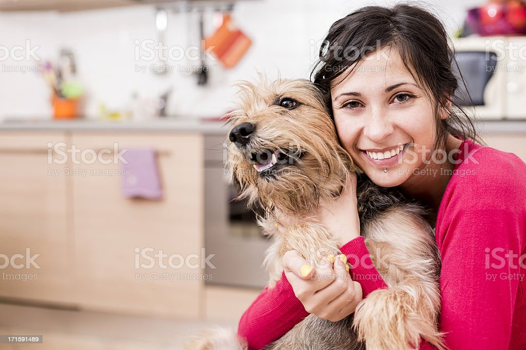Woman playing with her Dog royalty-free stock photo
