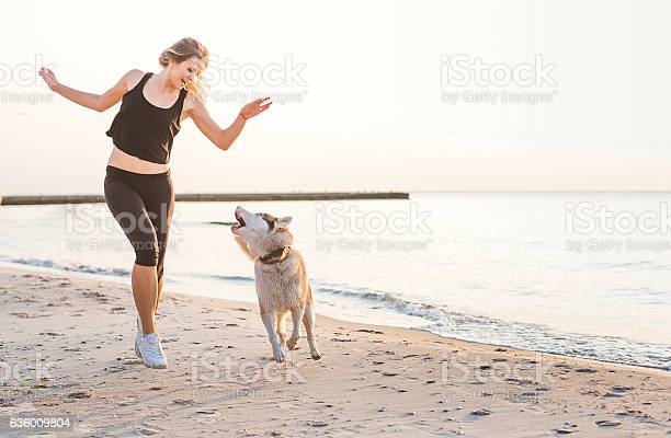 Woman playing with siberian husky dog on beach picture id636009804?b=1&k=6&m=636009804&s=612x612&h=akvvwv9rqcl 0uvuvpqqnvs0iykzqt6ypnekqgbi1n4=