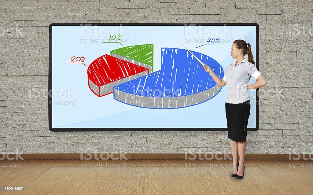 woman pointing at chart royalty-free stock photo