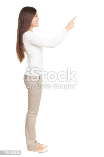 istock Woman pointing at copy space 153006338