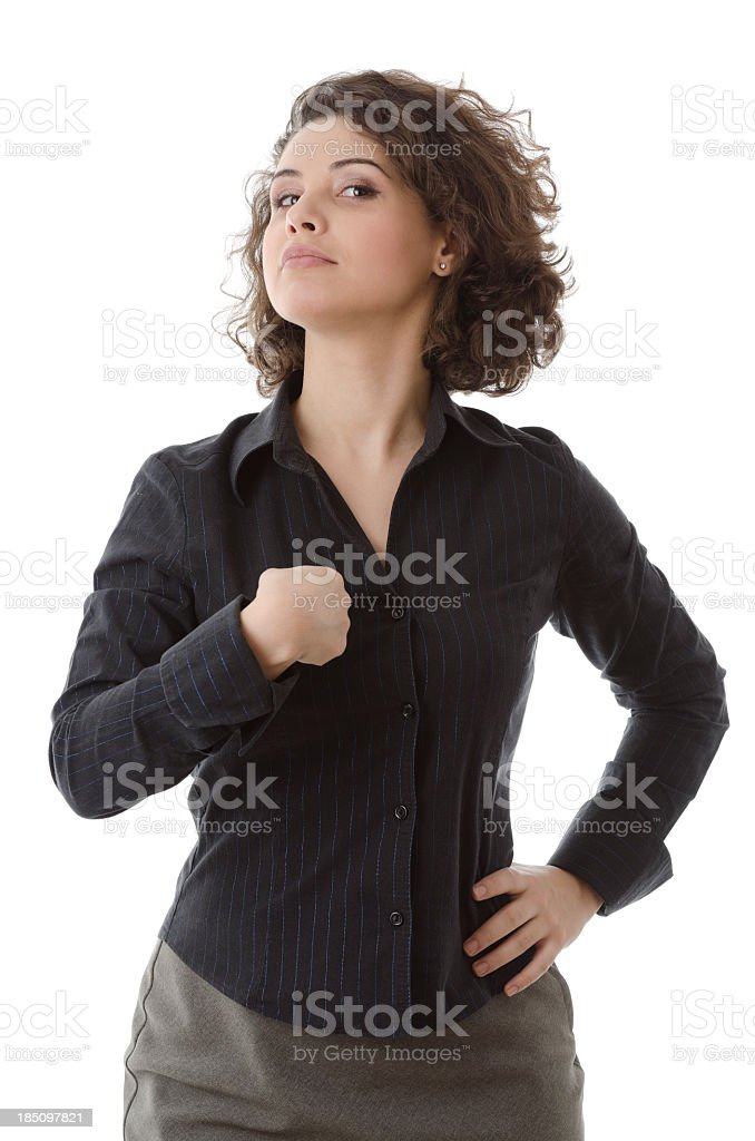 Woman pointing at herself, proudly, isolated on white royalty-free stock photo