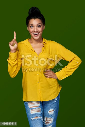 istock Woman pointing her finger up 496987614