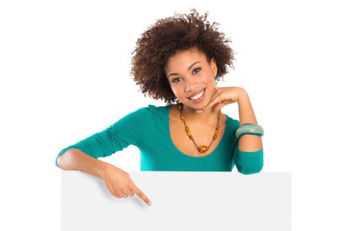 istock Woman Pointing On Billboard 165479276