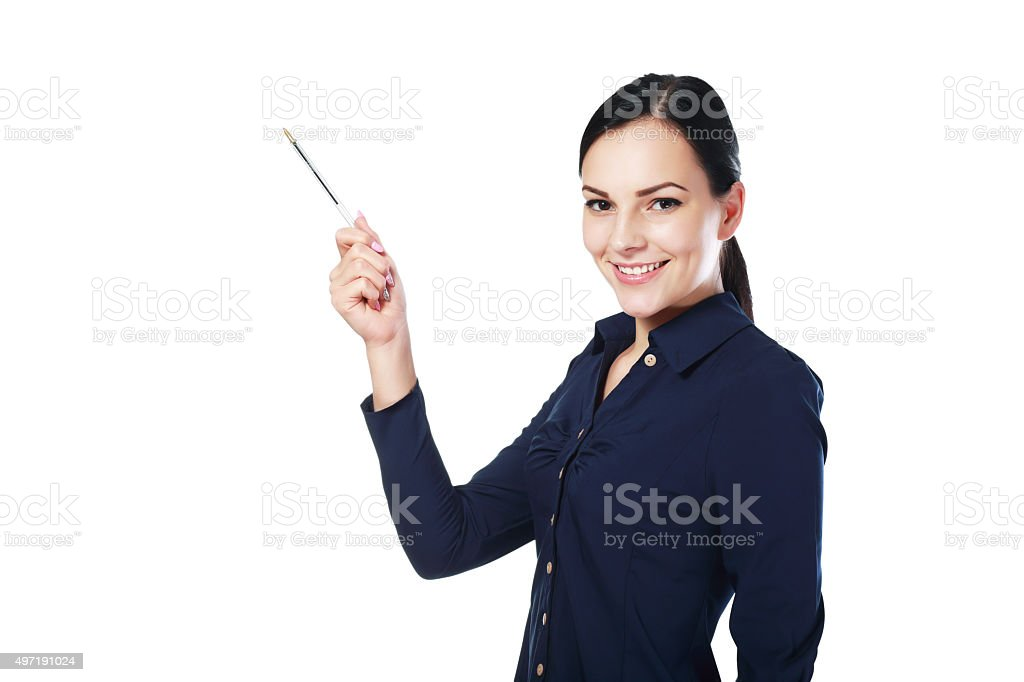 woman pointing stock photo