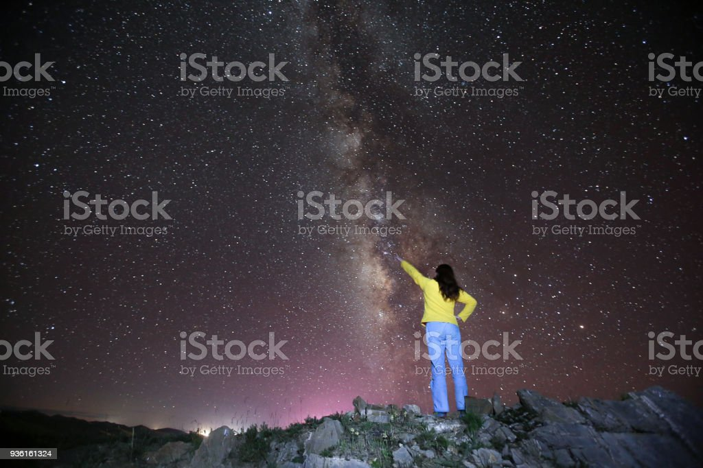 A woman Pointing to the Milky Way in Night sky  in Tibet stock photo