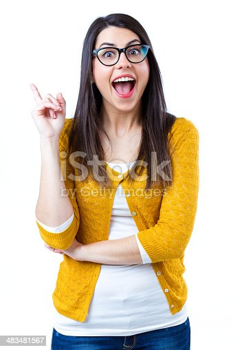 istock Woman pointing up 483481567