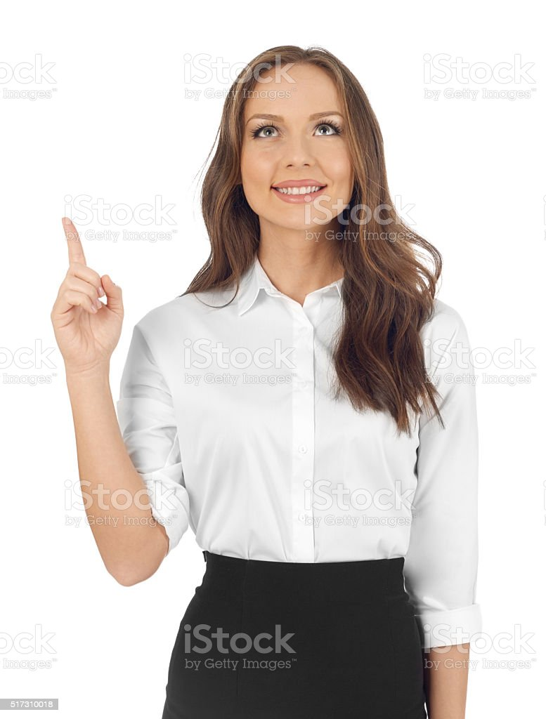 Woman pointing up stock photo