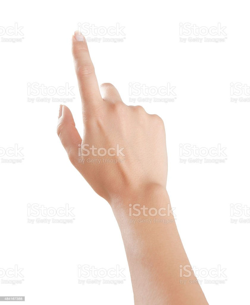 Woman points finger up stock photo