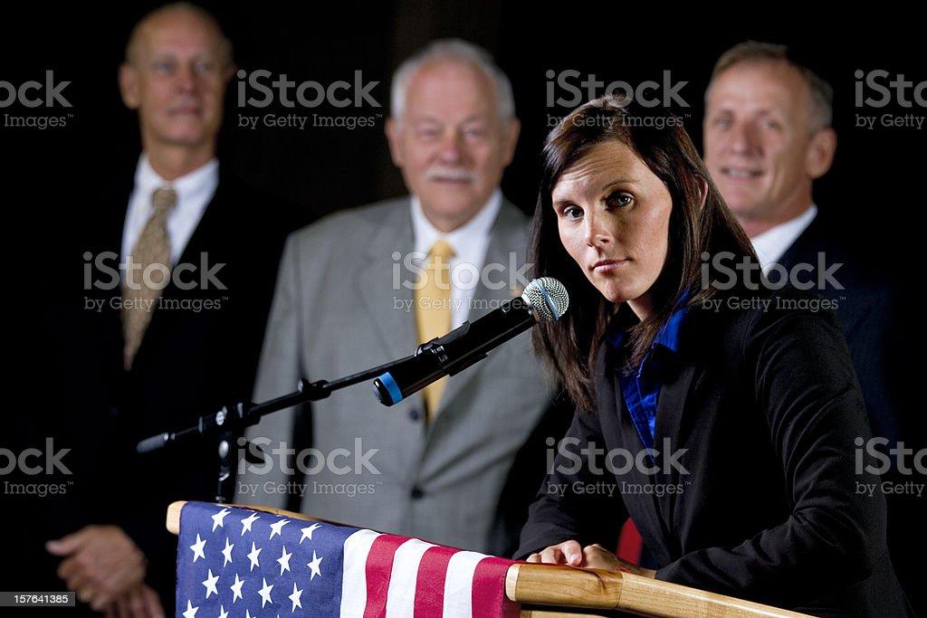 Woman Politician Giving a Speech stock photo
