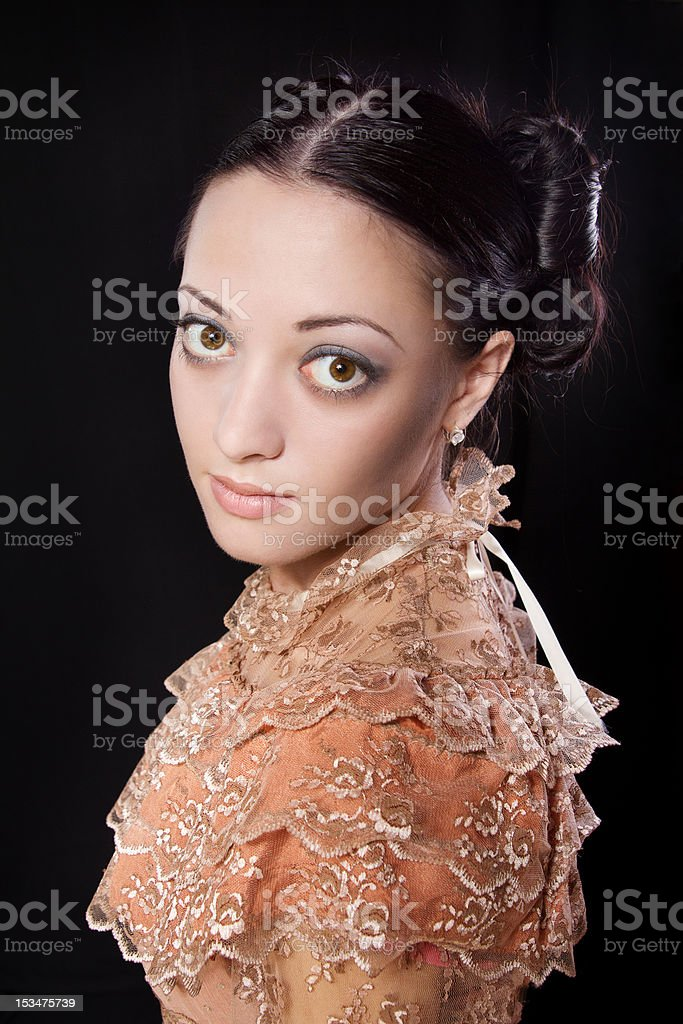 woman portrait in historical costume romanticism style. royalty-free stock photo