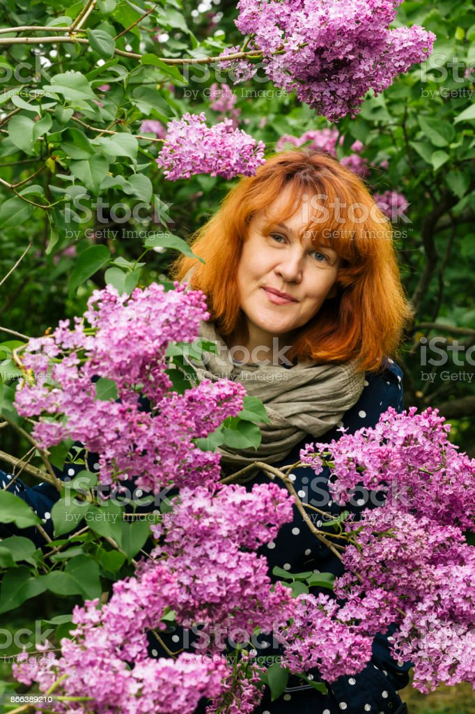 Woman portrait in lilac blossoms. stock photo