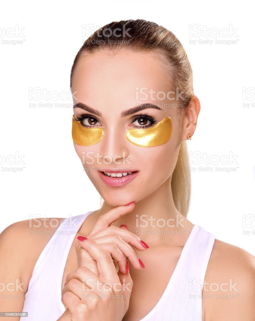 Woman portrait, patches under the eyes stock photo