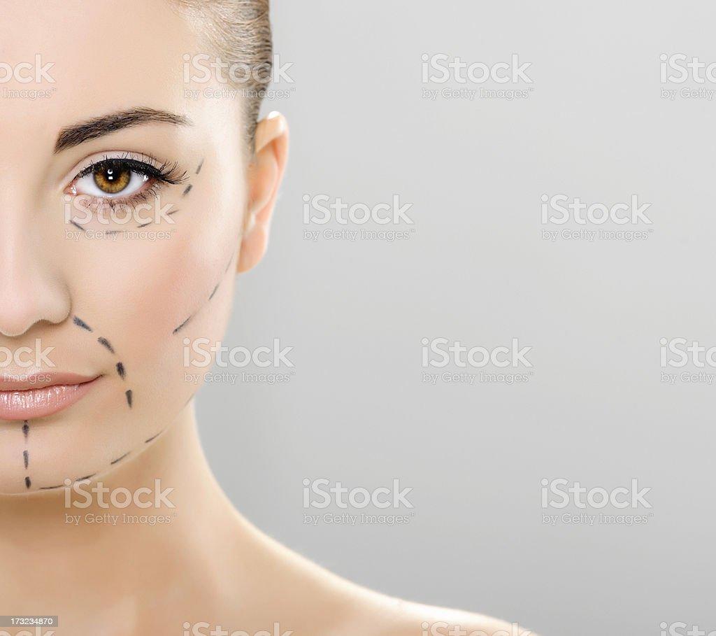 woman portrait plastic surgery stock photo