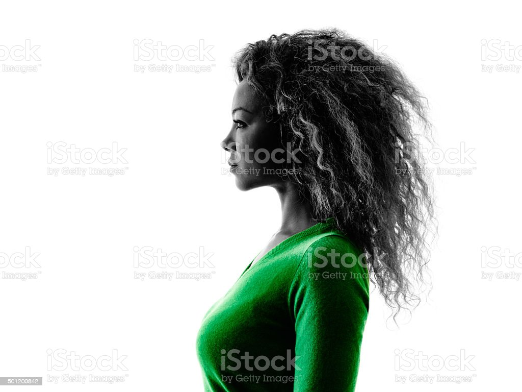 woman portrait profile silhouette isolated stock photo