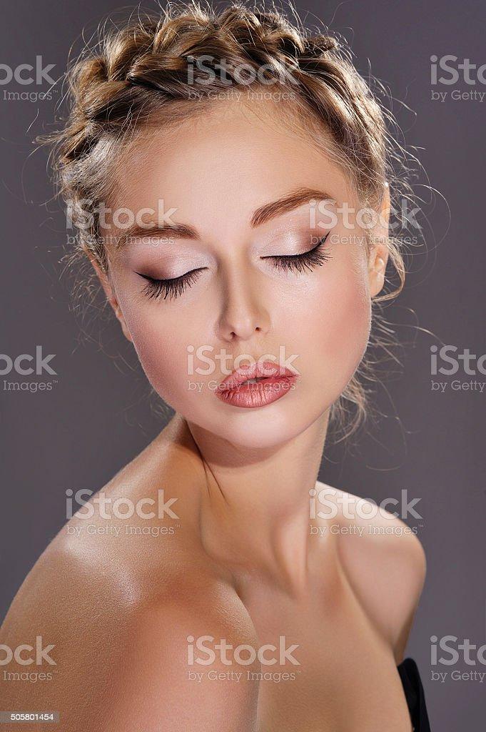 Woman portrait with elegant makeup stock photo