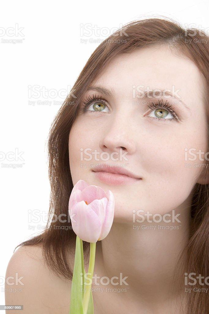 Retrato de mujer con flor foto de stock libre de derechos