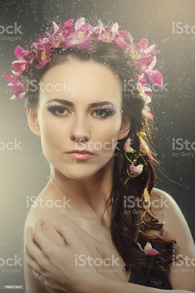 woman portrait with flowers royalty-free stock photo