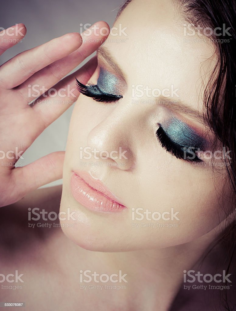Woman portrait with make up stock photo