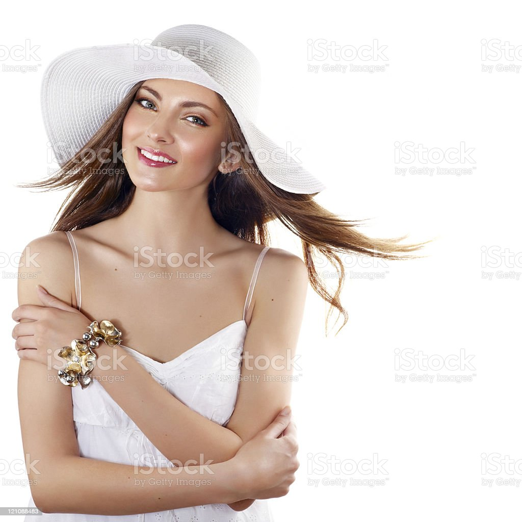 A woman posing in a summery outfit royalty-free stock photo