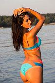 istock Woman posing in sea 1175072036