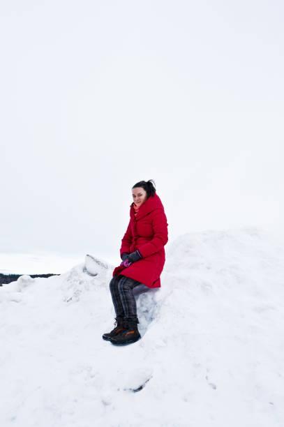 frau posiert im winter schnee. nördlichsten schweden - stockwerke des waldes stock-fotos und bilder