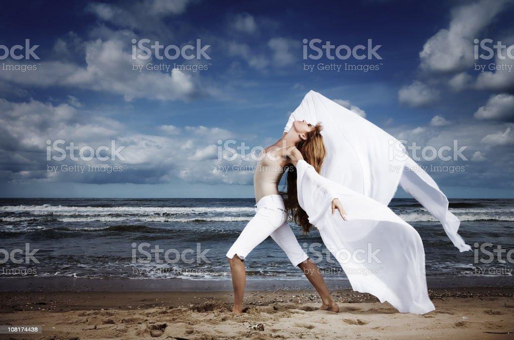 Woman Posing on Beach stock photo