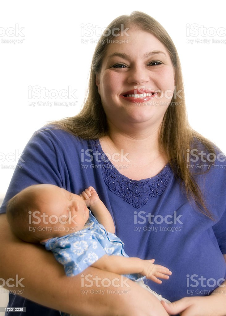 Woman posing with her infant child stock photo
