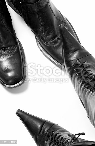 isolated boot over white background - concept image about woman power