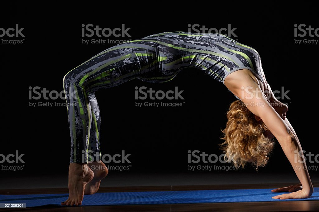 Woman Practicing Advanced Yoga Fitness Stretching Training Yoga