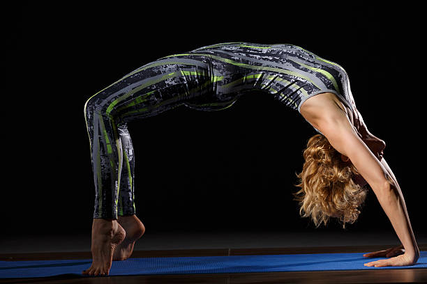 Woman Practicing Advanced Yoga Fitness Stretching Training