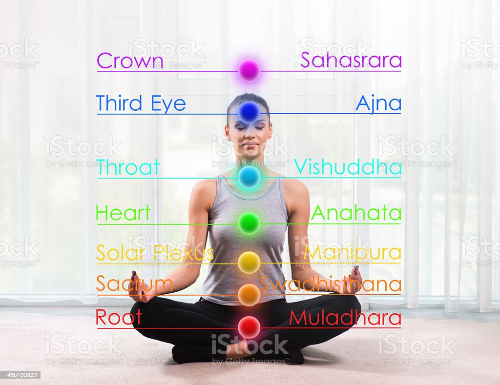 Woman practicing meditation with chakras marked stock photo