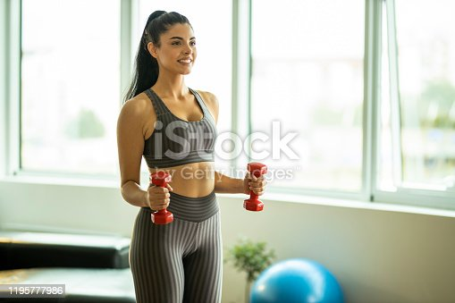 1035512048istockphoto Woman practicing with weights 1195777986