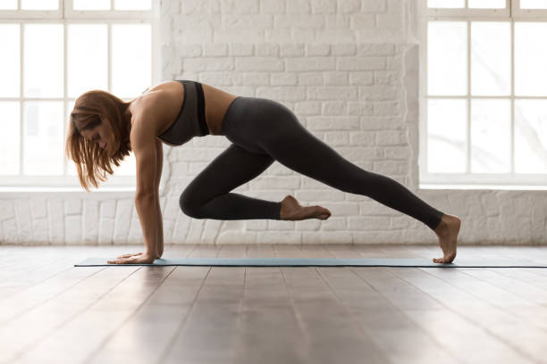 Woman practicing yoga, doing Knee to Forehead exercise, Plank pose Attractive woman in grey bra and leggings practicing yoga, doing Knee to Forehead exercise, phalankasana, variation of Plank pose with lifted leg, girl working out at home or in yoga studio abdominal muscle stock pictures, royalty-free photos & images
