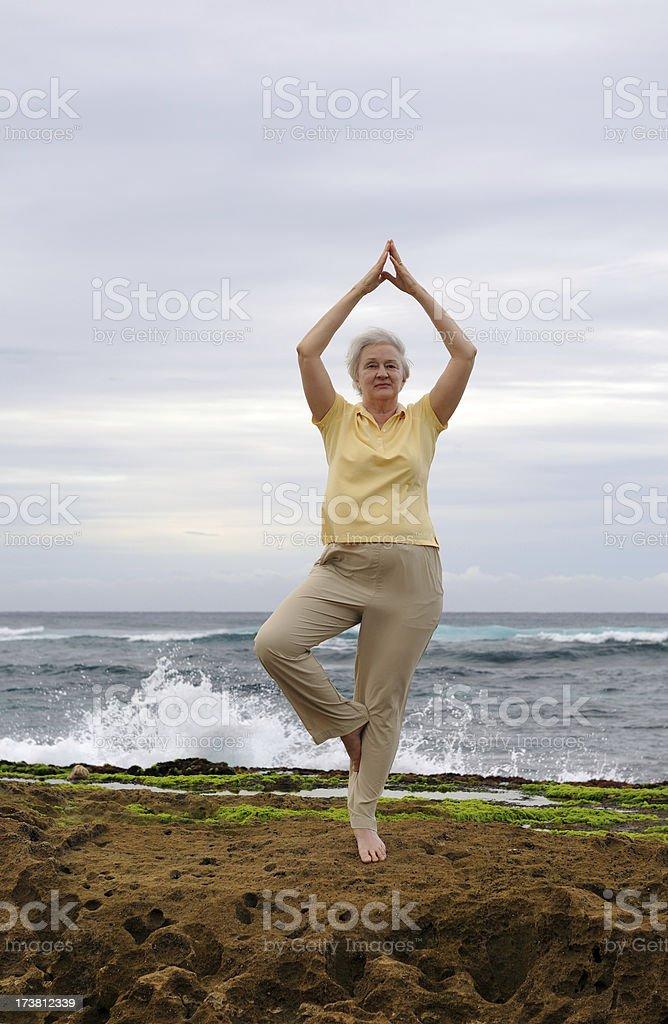 Woman Practicing Yoga on Rocky Shoreline stock photo