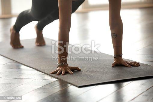 675173150istockphoto Woman practicing yoga, Plank pose, close up 1046581430